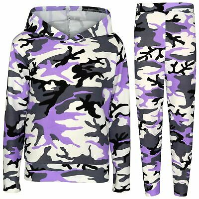 Kids Girls Tracksuit Camouflage Lilac Hooded Top & Legging Loungewear Outfit Set