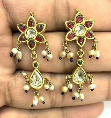 Vintage antique 20K Gold jewelry Diamond Polki Ruby Emerald Earring Pair