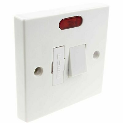 General British 13A Faceplate Fused Connection Switched Unit with LED White