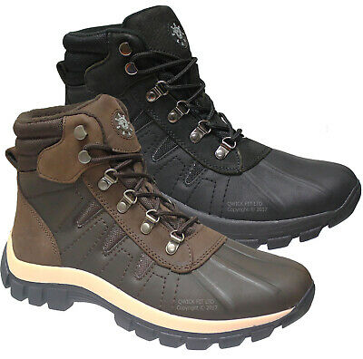New Mens Leather Snow Thinsulated Hiking Trail Walking Boots Ski Thermal Shoes