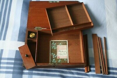 vintage writing box merit award inside dated 1885 with inkwell and  pencils
