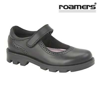 GIRLS Bar Touch Fastening Black Leather School Shoes  Size 10 11 12 13 1 2 3 4 5