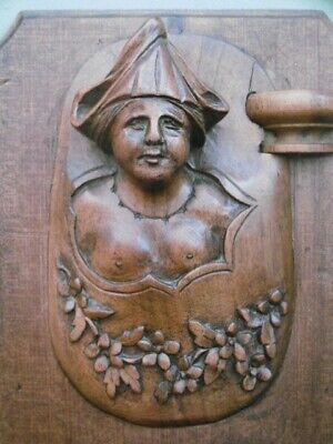 SUPERB 19thc BLACK FOREST WOOD CARVED PANEL WITH BARE-BREASTED FEMALE C.1870