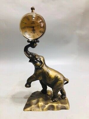 Chinese Brass gold plated Elephant ball Mechanical clock table Home Decoration