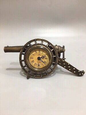 Chinese Old copper cannon Mechanical clock table Home Decoration