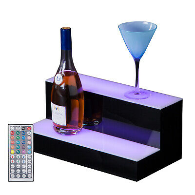 "2 Step Tier 16"" LED Lighted Back Bar Glowing Liquor Bottle Display Shelf Glowing"