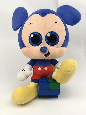 Disney Parks Mickey Mouse Blue Head Big Sparkle Eyes 12 Inch Plush Doll Toy Rare