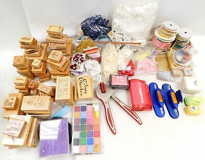 Huge Collection of 10.5KG CRAFT MATERIALS inc Stamps, Ribbons, Cutters - T07