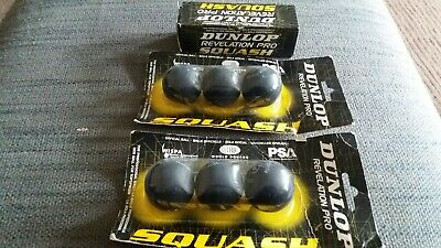 9 Boxed Dunlop Revelation Pro Squash Ball Double Yellow Dot. All new