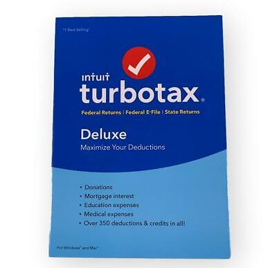 Turbotax Intuit DELUXE 2018 NEW SEALED!!!  Federal + State E-File, Windows/Mac