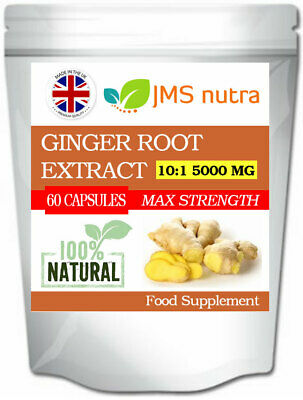 Ginger Root Extract 10:1 5000mg Potent Travel Sickness Nausea Digestion Pills