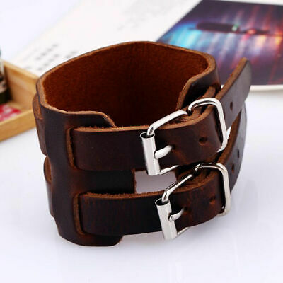 Men Punk Unisex's Bangle Jewelry Clasp Cuff Cool Leather Wide Wristband Bracelet