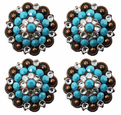 4 Conchos Rhinestone Horse Saddle Western Rodeo Bridle Berry Turquoise CO84
