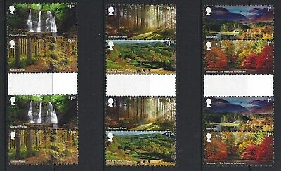 Great Britain 2019 Forests Set Of 6 In Gutter  Pairs Unmounted Mint, Mnh