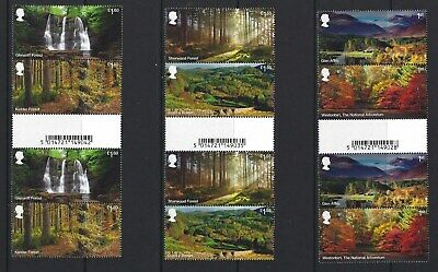 Great Britain 2019 Forests Set Of 6 In Barcode Gutter  Pairs Unmounted Mint, Mnh