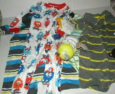 Baby Boy Infant Gift Carters 3,12,18 months Lot of 5 Footie Pjs. Outfit, Toy NWT