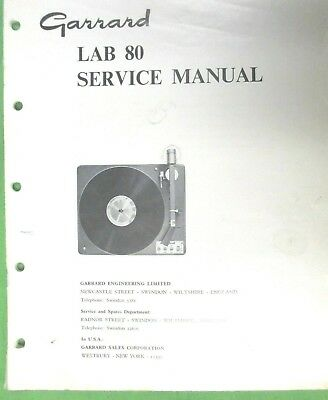 Garrard Service Manual For Lab 80 Turntable Photo Copy 32 Page Manual