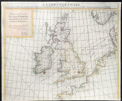 1726 Large Original Antique Map BRITISH ISLES Globular Sea Chart Senex  (LM7)