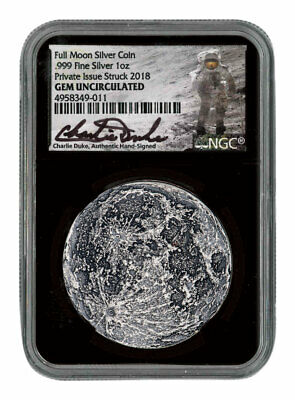 Apollo 11 50th Anv Supermoon 1oz Silver Antiqued Medal NGC GEM BU Black SKU56263
