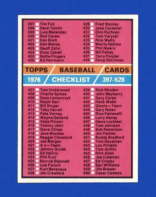 1976 Topps Set Break #526 Checklist 397-528 NM-MT OR BETTER *GMCARDS*