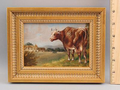 Small Antique 4x5 O/C Country Cow & Farm Landscape Oil Painting, NR