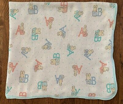 Vintage Carter's Baby Blanket Thermal Waffle Weave  Cotton Pastel Bunnies ABC