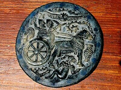 Very Old Hand Carved Lapis Lazuli Stone Depicting A Roman Chariot Battle
