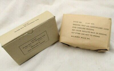 Nos Original Us Army Wwii Large First Aid Dressing Camouflaged