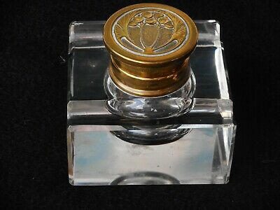 Art Nouveau  Antique Glass Inkwell Brass Hindged  Lid  circa 1890 -1910