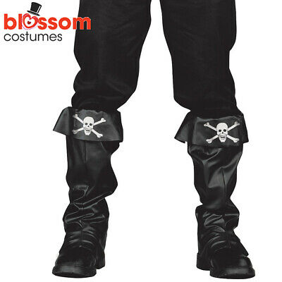 Mens Black Deluxe Pirate Santa Boot Top Covers Accessory Hook Boot Tops Medieval