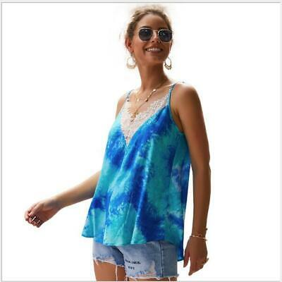 T-Shirt Camisole Women Blouse V-Neck Vest Lace Loose Sleeveless Casual Tank Tops