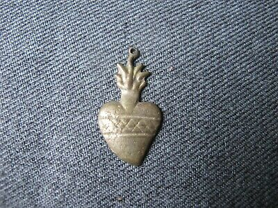 Antique silvered metal flamed sacred heart ex voto milagro miniature pendant