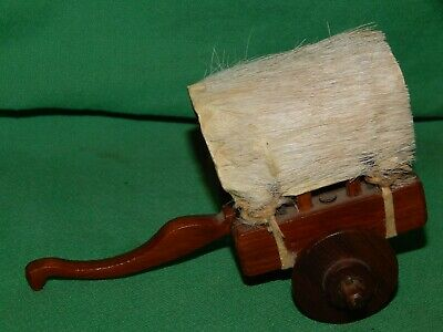 """Vintage! 5"""" Wooden Covered Wagon Ox Cart Western Decoration,  Animal Hide Top!"""