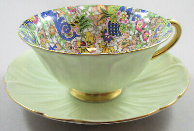 Shelley Blue Paisley Chintz Oleander Cup and Saucer and Eight Inch Plate