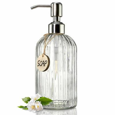 8 Oz Glass Soap Dispenser Refillable Liquid Hand for Bathroom or Kitchen