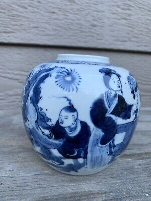 Antique chinese blue and white porcelain Pot Qing China Asian