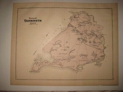 Antique 1880 South & West & Yarmouth & Port Barnstable County Massachusetts Map
