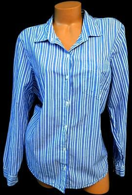 Old navy blue white striped long cuff sleeve plus button down classic top XL