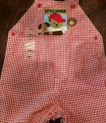 Nwt Good Lad Little League Series Red White Checked Overall Short All 18 Months