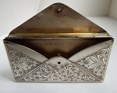 Lovely Decorative English Antique 1904 Novelty Sterling Silver Calling Card Case