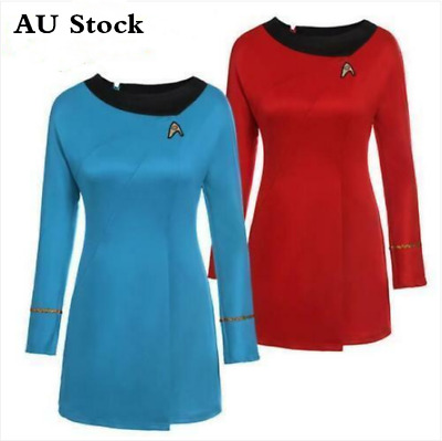 Book Week Women Star Trek Uniform Original Serie Cosplay Costume Red&Blue Dress