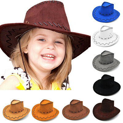 AU Cowgirl Cowboy Artificial Suede Hat For Kid Boys-Gilrs Party Costumes Sun Hat