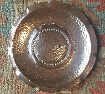 1950s vintage hand beaten copper plate 'weeda TASMANIA""