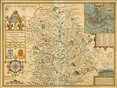 c1612 Original Antique Map - 1st Issue SHROPSHIRE by John Speed Humble Edition