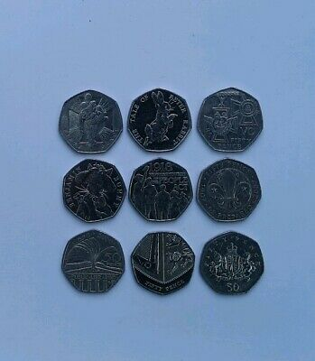 Job Lot Assorted 50p Coins x9 All Different