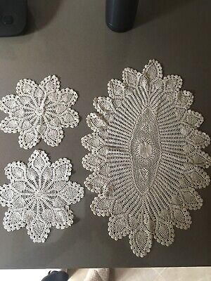 Vintage Crochet Hand Made Doilies Set Of 1 Large Oval And 2 Small Round
