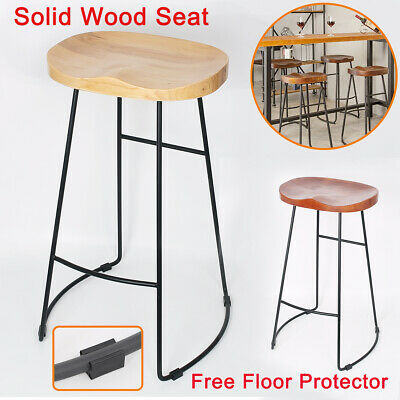 2/4X Vintage Metal Wooden Bar Stools Kitchen Pub Counter Industrial Retro Seat