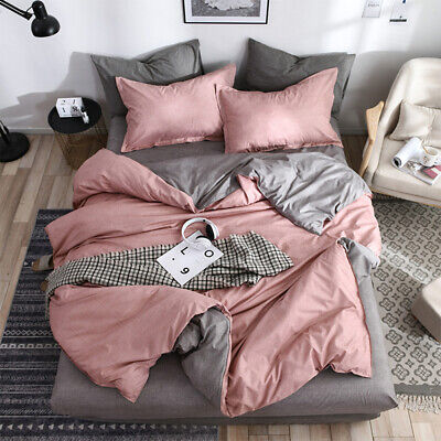 4 piece Bedding Set Cotton Plain Colour Duvet Cover  Flat Sheet Pillowcase
