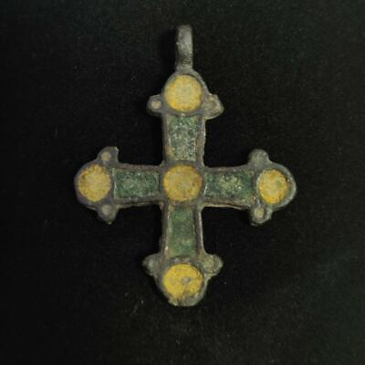 Authentic Early Medieval Period, Viking Era, Bronze Cross With Enamels