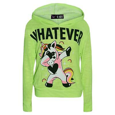 Kids Girls Tracksuit Whatever Dabbing Unicorn Floss Hooded Top Bottom Outfit Set